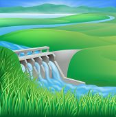 stock photo of hydro-electric  - Illustration of a hydroelectric dam generating power and electricity - JPG