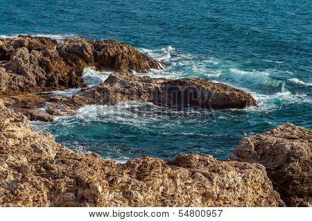 Beautiful Sea Lagoon Clear Blue Water Resort In Tarhankut, Crimea, Ukraine