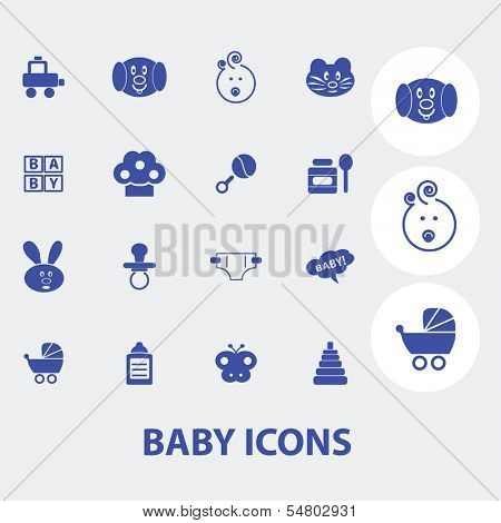 baby, children, toys icons set, vector