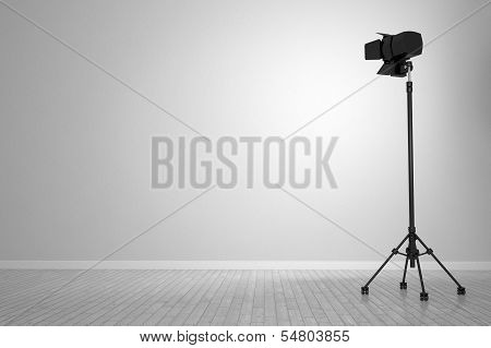 White Wall With Spotlight As Background