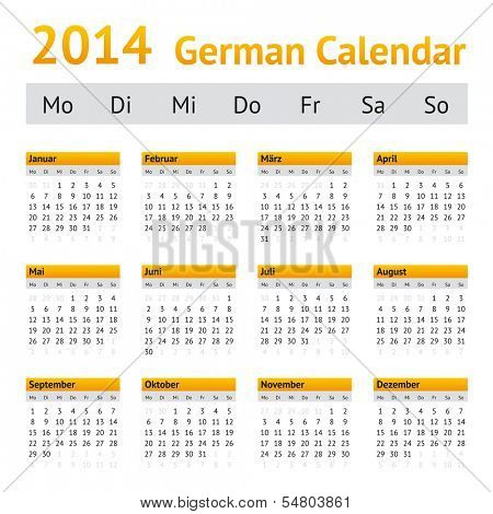 2014 German Calendar. Week starting on Monday