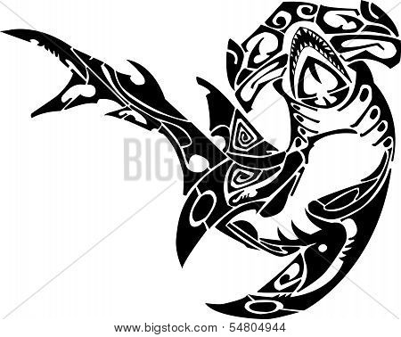Angry shark with black flames for tattoo designt