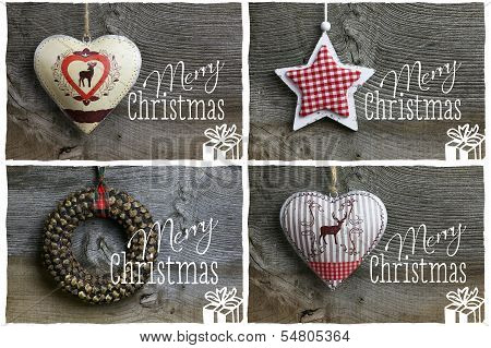 Merry Christmas Message, Decoration Pinecone Wreath, Tin Hearth, White Wooden Star, Collection Of Fo