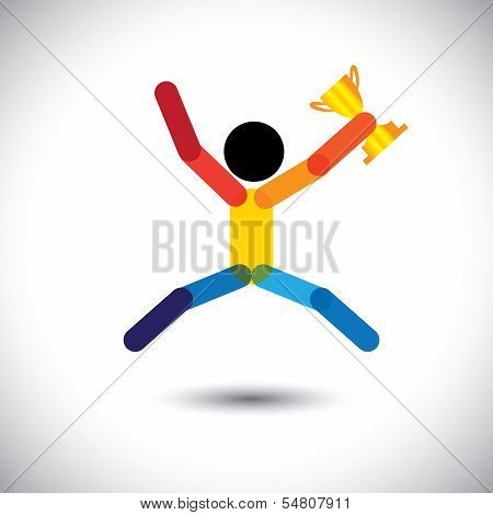 Colorful Vector Icon Of A Person Celebrating Winning.