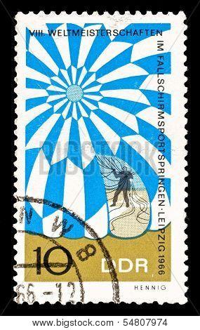 Gdr Stamp Parachute Jumping
