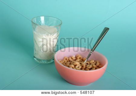 Cereal And Glass Of Milk