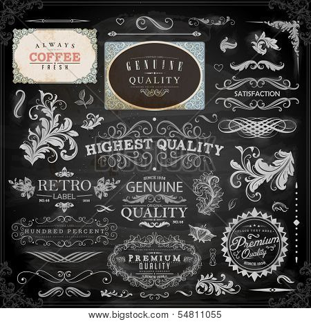 Vector set of calligraphic vintage elements: page decoration, Premium Quality and Satisfaction Guarantee Label, antique and baroque frames   Chalkboard background. Black design variant. Chalk style.