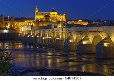 Old Roman Bridge And Tower Calahora At Night, Cordoba