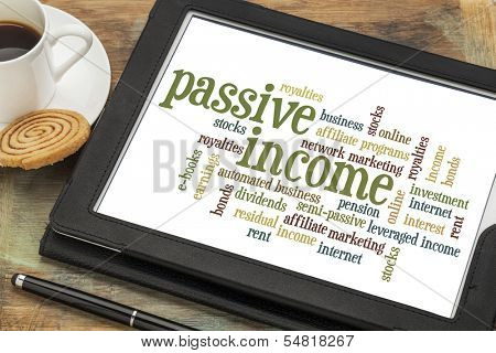 passive income word cloud  on a digital tablet with a cup of coffee