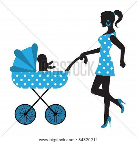 silhouette of a woman with a stroller