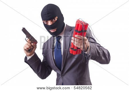 Terrorist with dynamite isolated on white
