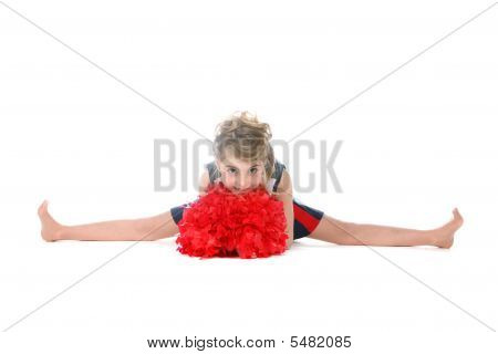 Cheerleader Girl Doing A Split And Holding Red Pompom