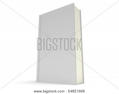 Blank book cover over white background. 3D