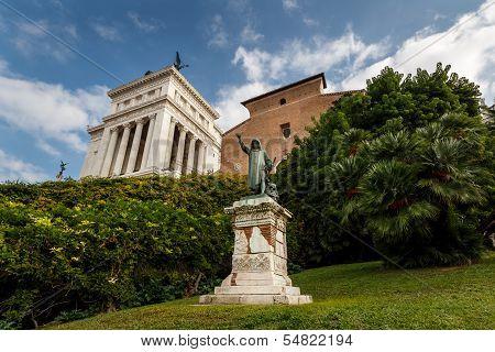 Statue Of Cola Di Rienzo And Santa Maria In Aracoeli Basilica On Capitoline Hill, Rome, Italy