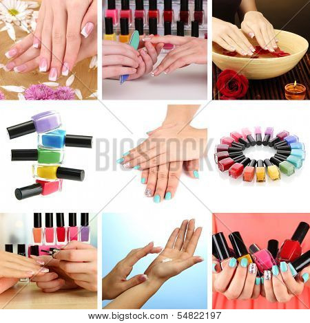 Collage of beautiful woman manicure