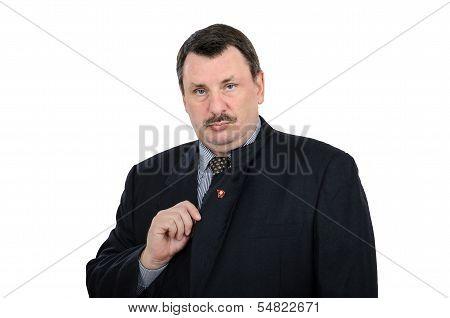 Man Pinned Communist Badge