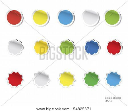 Vector blank stickers - circle, star, polygon, flower