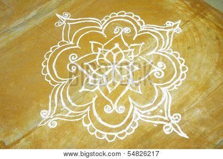 rangoli art on a floor