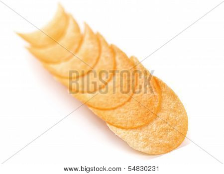 Row potato chips.