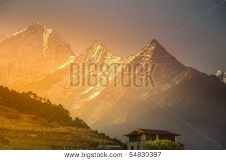 Himalaya scenic mountain landscape against the sunset sky