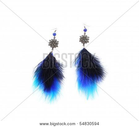 Pair of ladies earrings from blue feather.