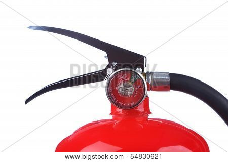 Top of chemical fire extinguisher.