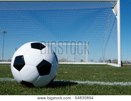 Soccer ball near the Goal with room for copy
