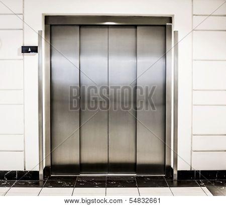 elevator door in a modern building
