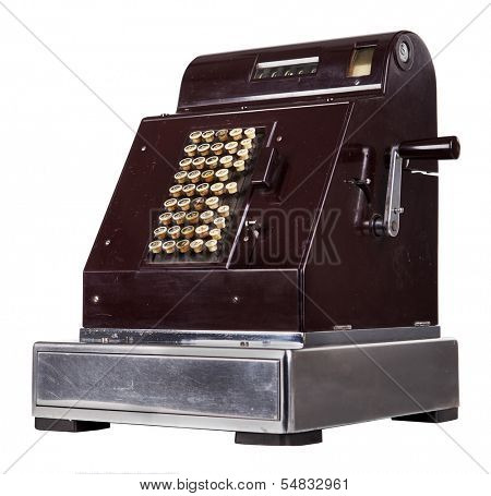 Old cash register isolated on white