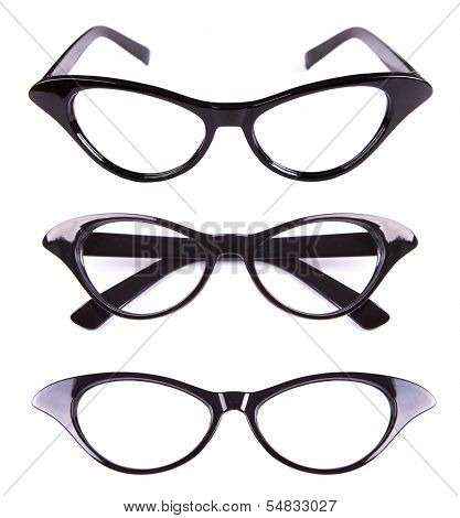 Cat eyes shaped retro glasses isolated on white