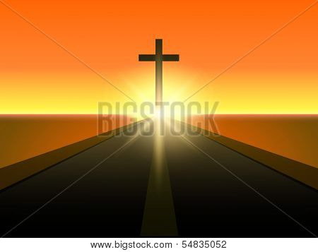 Merry Christmas and Happy New Year 2014 celebration concept with view of Christian cross in evening background.