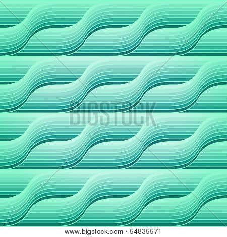 Seamless Retro Abstract Geometric Pattern With Blue Waves. Eps10