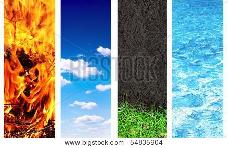 Collection of banner with nature elements - water; ground; air and fire