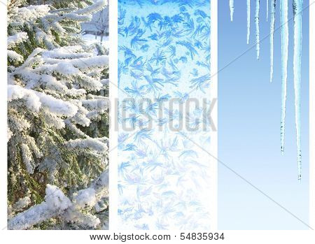 Collection of vertical winter banners