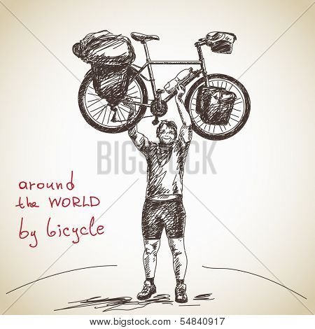 Hand drawn tourist long distance cyclist