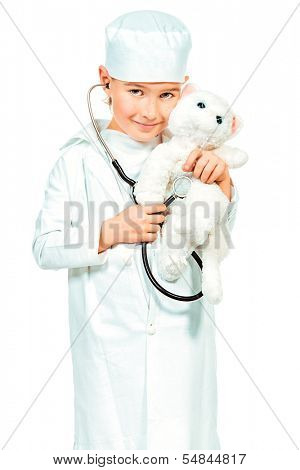 Little boy playing a doctor veterinarian. Different occupations. Isolated over white.