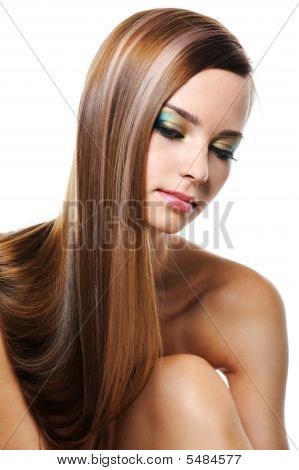 Portrait Of Beautiful Girl With Smooth Gloss Long Hair