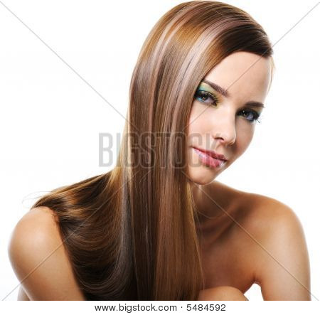 Smiling Woman With Straight Long Hair