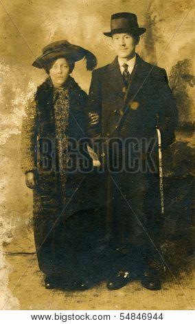 LODZ, POLAND, CIRCA 1910: Vintage photo of mother elegant couple, Lodz,Poland, circa 1910