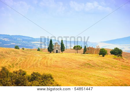 Tuscany Landscape, Vitaleta Chapel, Little Church In Val D Orcia, Italy