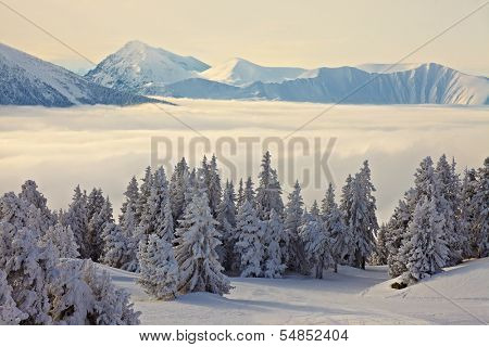 High mountain range in winter
