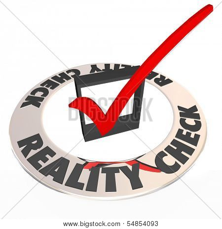 Reality Check Words Checkmark Box Realistic Potential