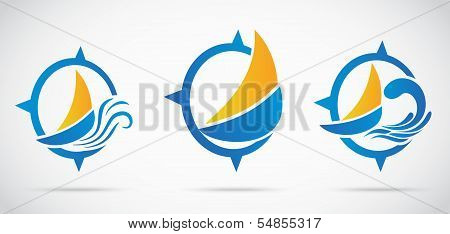 Yacht Icon set .with nautical wave