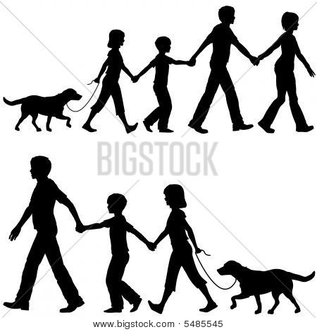 Casual Family Mom Dad Lead Kids And Dog On Walk