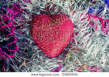 Xmas Background with heart ornament