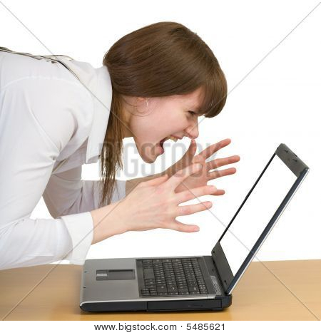 Girl Emotionally Shouts At The Laptop
