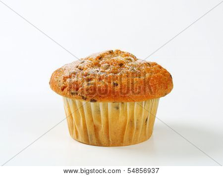one vanilla muffin with chocolate chips