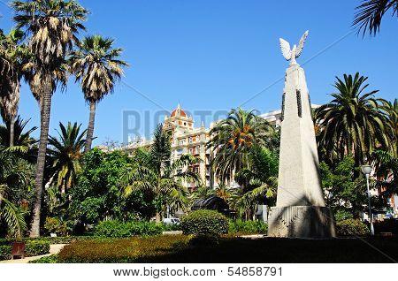 Monument in park, Malaga, Spain