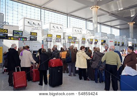 Check in queues, terminal 3, Malaga airport.