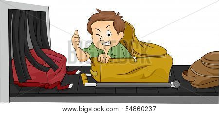 Illustration of a Man Hiding Inside His Luggage Being Carried Away by the Conveyor Belt